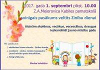 Skolā 1.septembrī Zinību diena
